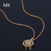 MK Michael Kors Fashion New Round Diamond Personality Women Necklace Jewelry Golden