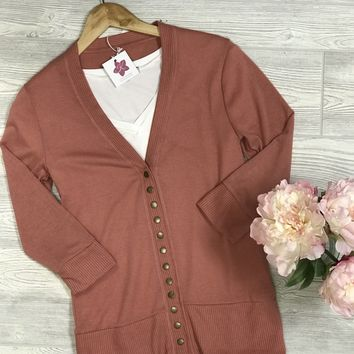 Oh Snap Summer Cardigan in Ash Rose