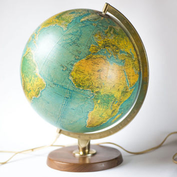 Vintage blue Ocean illuminated globe, Cold War time Physical Political Map globe, lighted world Globe glass Copenhagen - Replogle Chicago
