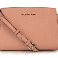 MICHAEL Michael Kors Selma Medium Saffiano Leather Messenger (Peach)