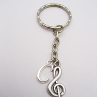 Treble Clef Keychain Music Keychain Initial Music Lovers Gift  Personalized Musician Gift Letter Silver Music Note Keychain  Customized