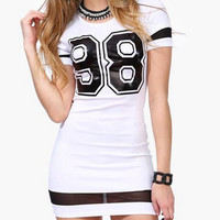 98 Graphic Print Mesh Hem White Bodycon Dress