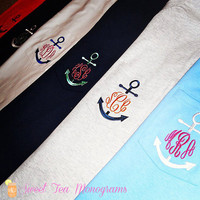 Long Sleeve Anchor Monogram Pocket Tshirt by SweetTeaMonograms