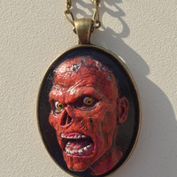 Orange and Black Polymer Clay Zombie Cameo Pendant Necklace