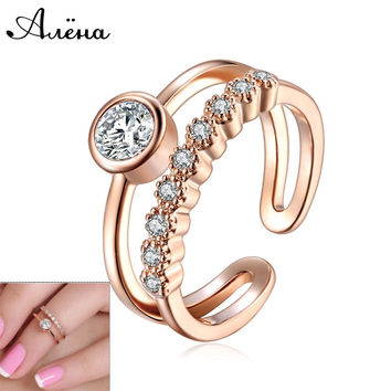 Joint Knuckle Ring Women Toe Ring 18K Rose Gold And Silver Plated Austrian Crystal Nail Zircon Midi Set Mid Finger Rings