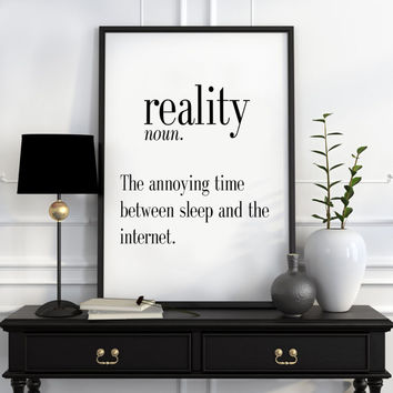 Definition of Reality Funny wall art Typography Print Funny Poster Name Definition Art Minimalist Art Art Print Instant Download Print