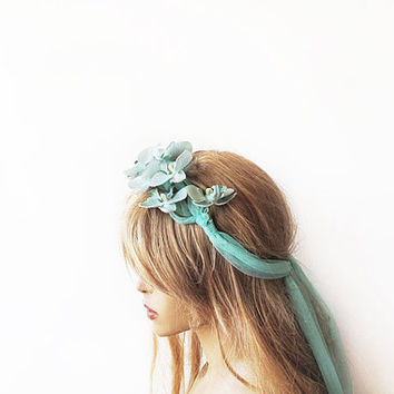 Wedding Flower Crown, Mint Green Floral Crown, Woodland Bridal Headpiece, Hair Flower, Wedding Hair Accessories