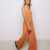 Don't Ask Why Strapless Jumpsuit, Rust