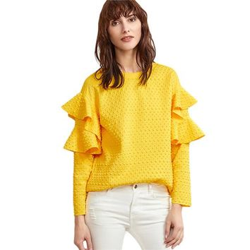 Layered Ruffle Sleeve Blouses Women Yellow Polka Dot Embossed Cute Tops New Fashion Spring Casual Elegant Blouse