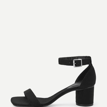 Suede Ankle Strap Chunky Heels