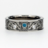 Teal and white diamond filigree ring, engagement ring, wide filigree ring, wedding band, blue diamond, white gold, unique, vintage style