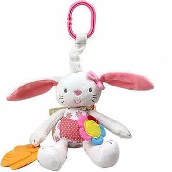 New Baby Toy Soft Plush Rabbit Baby Rattle Ring Bell Crib Bed Hanging Sleep Toy Stuffed Stroller Toy