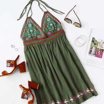 Halter Embroidered Dress