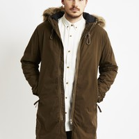 Selected Storm Fur Parka Brown