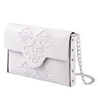 Womans clutch bag / small white clutch bag / evenig purse / wedding day clutch bag / classic white clutch with metal chain strap