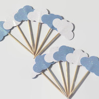 Cloud baby shower cupcake toppers, clouds decorations, gender reveal party, glitter, babys first, 1st birthday, heaven sent, Baptism