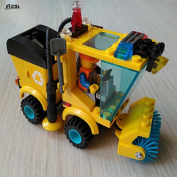 City Series Sweeper Car Truck Construction Mini Educational Building Blocks Toys Compatible With Bricks Kits