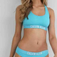 Calvin Klein Fashion Ladies Light Blue Letter Print Vest Style Two Piece Bikini Swimsuit Bathing