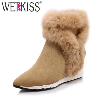 WETKISS 2018 Genuine Suede Leather Women's Boots Rabbit Fur Shoes Woman Pointed toe Ankle Boots Zipper Wedges Winter Footwear