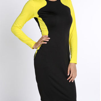 Yellow and Black Long Sleeve Midi Bodycon Dress