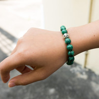MALACHITE BRACELETS Women accessories 10 mm Charm Bracelet Gemstone Green Emerald