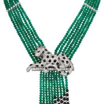 Panthère de Cartier High Jewelry necklace: Necklace - platinum, emerald beads, emerald eyes, onyx, baguette-cut diamonds, brilliant-cut diamonds.
