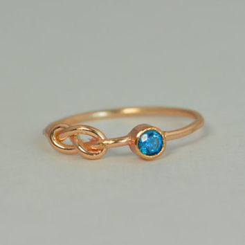 14k Blue ZIrcon Infinity Ring,14k Rose Gold, Stackable Rings, Mothers Ring, December Birthstone, Rose Gold Infinity Ring,Rose Gold Knot Ring