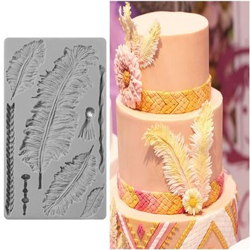 New Bakery Feather 3D Silicone Mold DIY Fondant Cake Kitchen Accessory Cake Decorating Tools Cupcake Dessert Decor