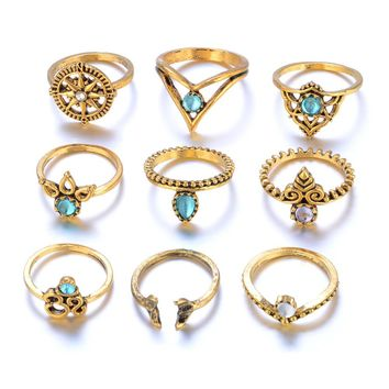 Nine Piece Set Bohemian Vintage Style Silver or Gold Color Stack Rings