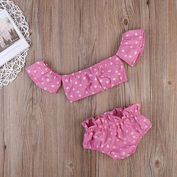 2017 Baby clothing sets Summer Print Tops , matching waistband Pants Beachwear Infant Girls Outfit Sets .pink