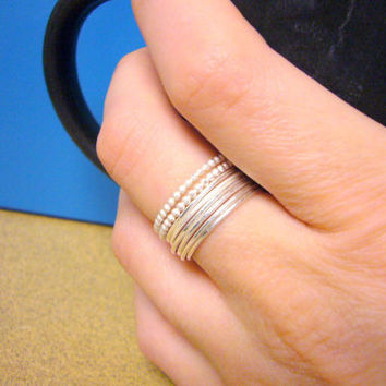 Stackable sterling silver rings Sterling silver stacking rings silver stacker rings silver beaded ring Etsy jewelry