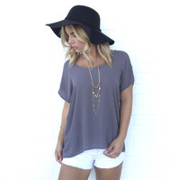 Simple Living Blouse In Smoke Grey