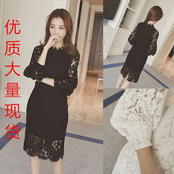 Women dress Upset Add Wool Full Sleeve Lace Hollow Out In Long Render Unlined Upper Garment Dresses White Black 501