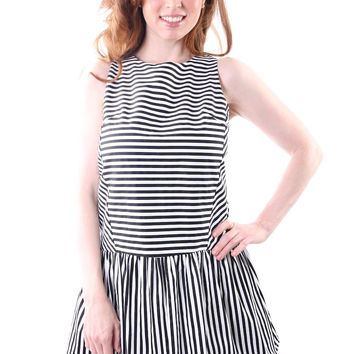 Stripe Scoop Back Drop Waist Dress