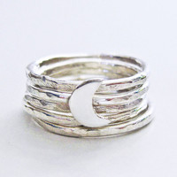 Moon ring stacking rings silver rings crescent moon by ZennedOut