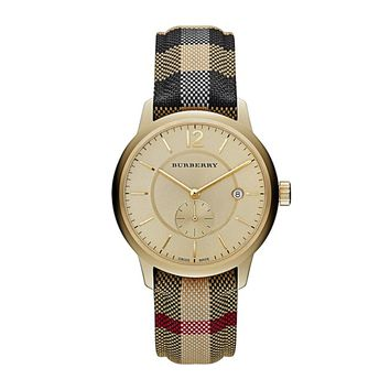 Burberry Horseferry Leather Strap Swiss Quartz Men's Watch - 40mm