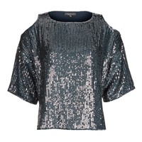 TALL Double Layered Sequin Cold Shoulder Top | Topshop