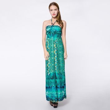 Sleeveless Halterneck Bohemian Style Special Print Acrylic Fibers Women's Dress