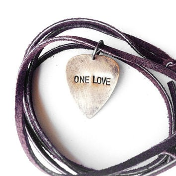 guitar pick man necklace - gift for men - one love - hand stamped mens necklace