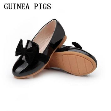Spring Autumn Kids Fashion Princess Flat Shoes Girls Bow PU Leather Child Dance Shoes School Girl Shoes Big&Little GUINEA PIGS B