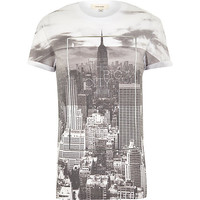 River Island MensGrey the big city print t-shirt