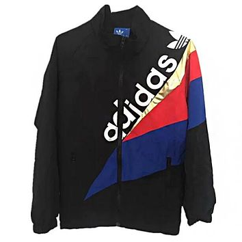 Adidas Fashionable Women Men Personality Print Zipper Cardigan Jacket Coat Black
