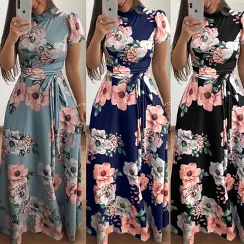 New Women Robe 2019 Autumn Winter Short Sleeve Floral Printed Maxi Dress Loose Bandage Dress Fashion Office Women Dress Vestidos