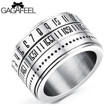 GAGAFEEL Engrave Custom Rings For Men Male Jewelry Punk Stainless Steel Arabic
