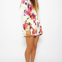 Floral Print Long Sleeves Romper | SPREDFASHION