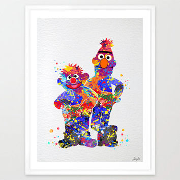 Bert and Ernie  from sesame street Watercolor Prints,Nursery/Kids Art Print,Home Decor,Wall Hanging,Motivational/Inspirational Gift,No 102