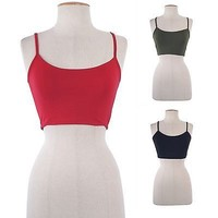 Solid Plain Spaghetti Strap Basic Cropped Camisole Tee Shirt Top Cotton Spandex