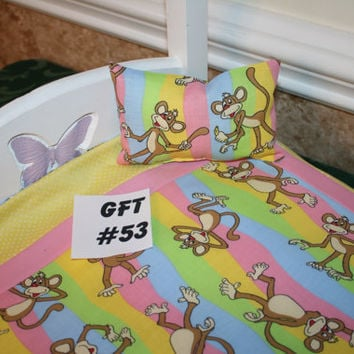 """American Girl sized, reversible doll bed quilt 17.5"""" x 20.5"""" with matching pillow 4"""" x 6"""""""