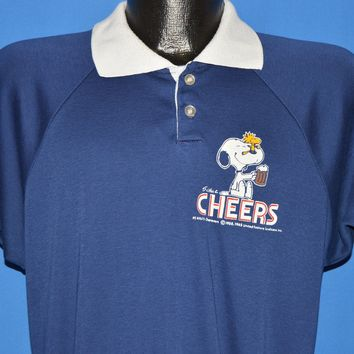 80s Snoopy Peanuts Cheers Polo Shirt Large