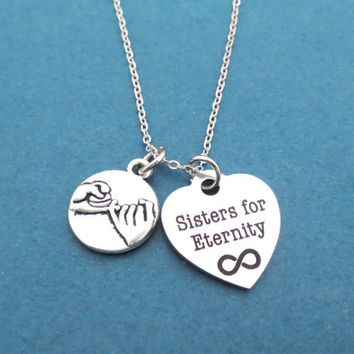 Pinky promise, Sisters for Eternity, Infinity, Sign, Heart, Necklace, Sister, Jewelry, Pinky, Promise, Jewelry, Birthday, BFF, Gift, Jewely